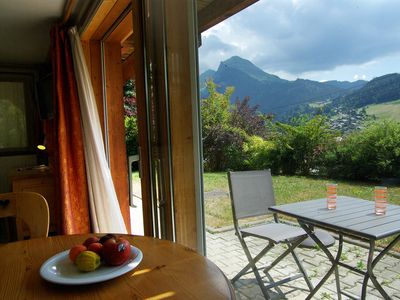 Photo for Morzine, SUNDAY-SUNDAY, Apart. ground garden, south, overlooking the resort, 4 p