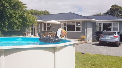 Photo for Sunny spacious retro bach with pool