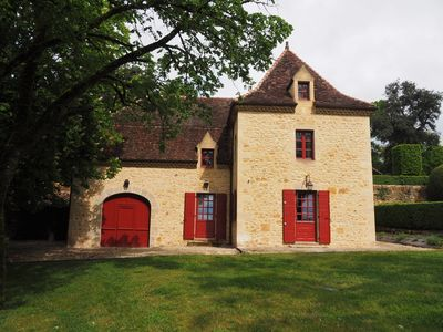 Photo for New Proche Sarlat - Beautiful stone house in 15th century manor park with swimming pool