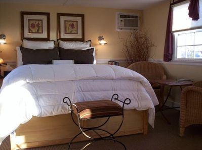 Each suite has a queen sized bed with luxury linens