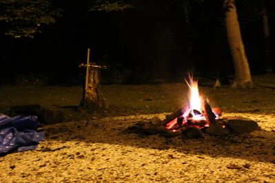 A warm, inviting fire pit just steps from the cabin. Firewood available.