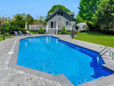 Photo for Greenport Village home w/ POOL! Steps to Town Center & Bay Beach!