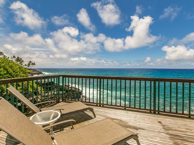 Photo for Poipu Shores 101B: AC, Oceanfront Deck, Pool, Drive Down To Poipu In Your Free M