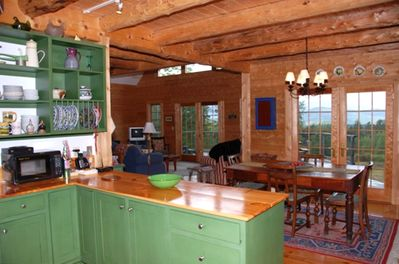 15-inch pine plank floors and an open airy living space so no one feels crowded.