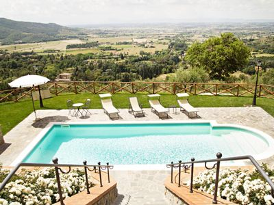 Photo for Stone villa with swimming pool surrounded by olive groves