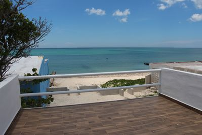 Balcony from the main room has a beautiful ocean front view