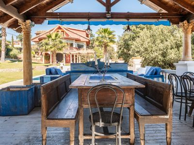"Photo for ""Villa Paulina"", Beautiful garden with saline pool and large porch with barbecue area."