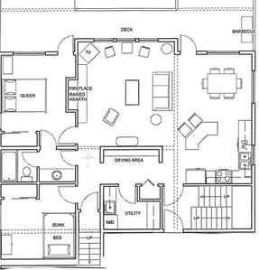 Check out our Blueprint of the main floor. King Master bedroom is upstairs!