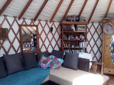 sitting area in yurt