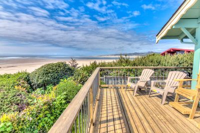Views from the deck of the ocean and Alsea Bay
