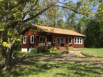 """Photo for """"Walden"""" Deluxe Riverfront Cabin on 54 Acres w/Hot Tub near Luray, VA"""