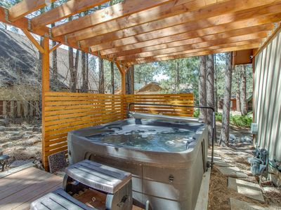 Photo for Cozy, vintage lake home with amazing outdoor decks, private hot tub, fire pit.