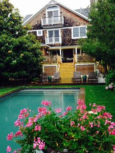 beautiful private saline pool w/ fabulous deck & garden