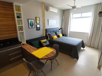 Photo for Beautiful studio, renovated with sea front view in Copacabana