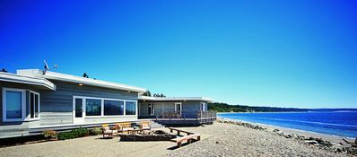 Perfectly set on 100' of beach. Master BR on L, Great room, guest bedrooms on R.
