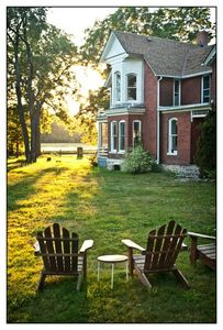 sunset begins, time to start up the grill, grab a book, a frisbee or croquet!