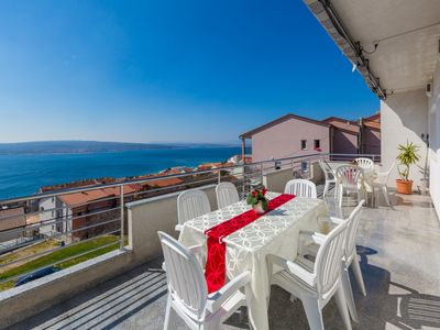 Photo for Holiday apartment with sea view and pool use