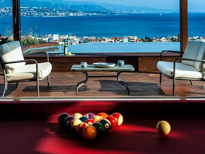 Photo for A terrace over the Messina strait and stunning view of the continental mainland.