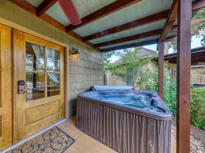 Photo for Gorgeous cottage w/ a private hot tub, fireplace, & countryside views