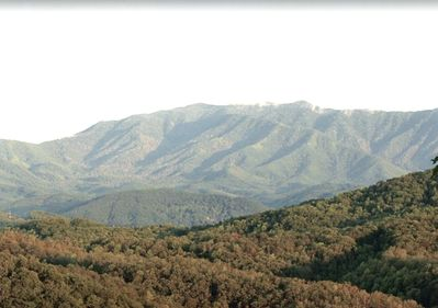 View of Mt LeConte taken from the covered deck of the cabin