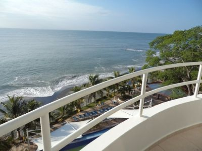 View of Ocean and Beach from the balcony of your suites.