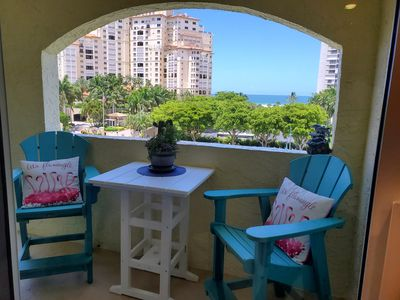Private lanai overlooking Collier Blvd and the Gulf of Mexico