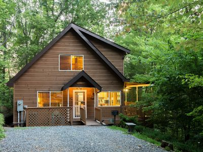 Photo for Dog-friendly Smoky Mountain cabin - fireplace, hot tub & game loft!