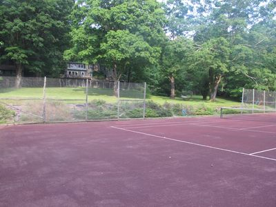 Newly resurfaced clay tennis court