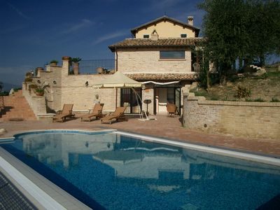 Photo for Country house with pool in a secluded location with panoramic sea 7 km, Pets Allowed