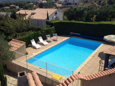 Photo for Holiday villa near Narbonne-Plage, fenced private swimming pool and view of a lake