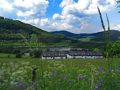 Photo for Spacious apartment with terrace, right on the Hillestausee near Winterberg