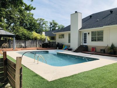 Backyard w/ Private Pool with Seating, Grill and privacy fence