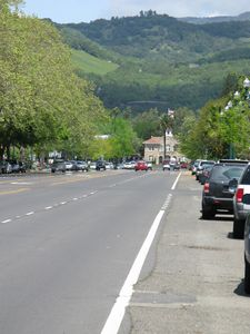 View up Broadway to Sonoma Hills and CityHall