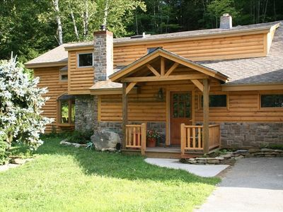Photo for Luxurious Vermont Log Cabin, Gourmet Kitchen, open airy great Family space