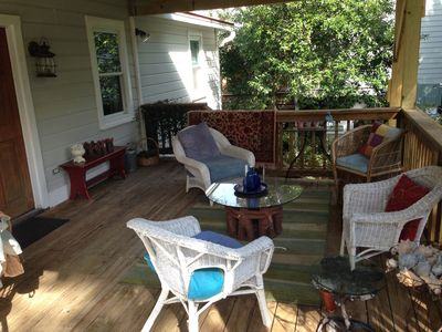 Front Porch in the shade for relaxing with friends and family.