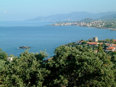 Photo for Greek 140 m2 stone house , 4 bedrooms, with beautiful sea and mountain views.