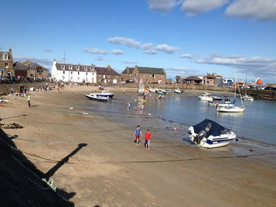 Enjoying the sun at Stonehaven Harbour