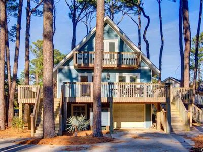 Photo for Charming 4 BR, 2 BA Home Nestled on Wooded Double Corner Lot, Minutes from beach