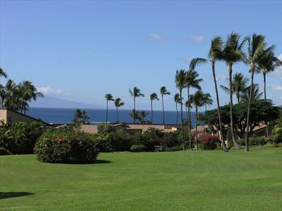 View from our lanai. Main greenbelt, luscious landscaping, ocean view.