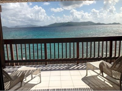 View from the private lower balcony, looking East toward St John, USVI.