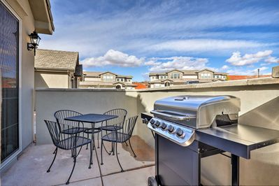 The 3-bedroom, 3.5-bathroom townhome boasts a private patio and a gas grill.