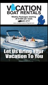 Weekly pontoon rental del and pick up to your VBRO cottage servicing SW Mich