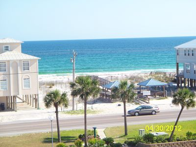 View from balcony of deeded beach access and pavilions