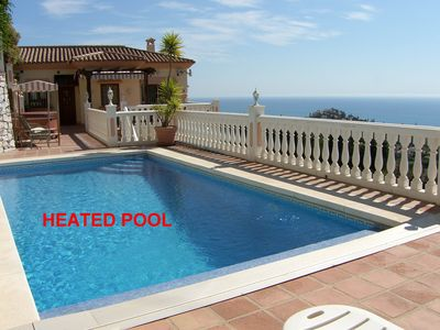 Photo for Luxury Private Villa with Heated Pool, Jacuzzi & Stunning Sea Views.