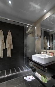In suite bathroom with shower