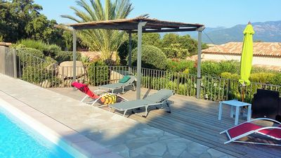 Photo for apartment with heated pool and garden, splendid view, air conditioning 4 people