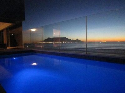 Table Mountain at sunset from our private pool