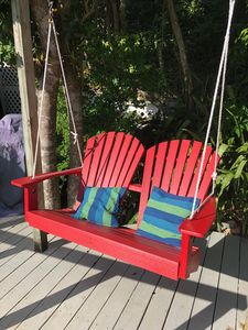 Lovely new outdoor swing on the deck.
