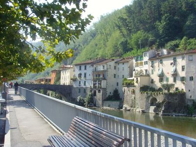 Photo for Restored 3 bedroom riverside apartment in Bagni di Lucca with beautiful views