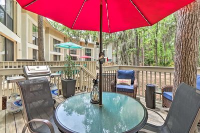 Spend your mornings and evenings lounging on the vacation rental's deck.